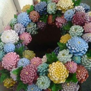 Pine cone spring wreath